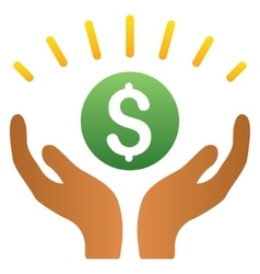 Financial prosperity hands gradient icon vector
