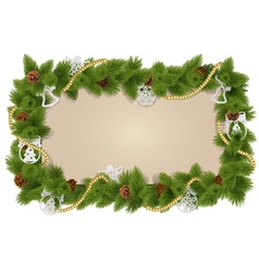 Fir Frame with Decorations vector image