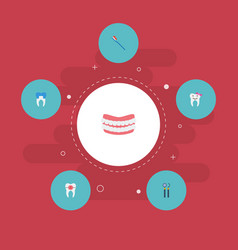 Flat icons children dentist equipment artificial vector