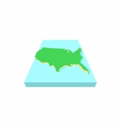 Green map of USA icon cartoon style vector image vector image