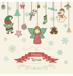 Hand Drawn Artistic Christmas Doodle Invitation vector image vector image