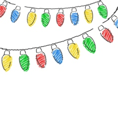 hand drawn Christmas lights isolated on white vector image vector image