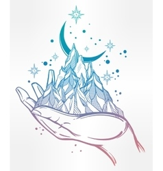 Hand drawn mountain range in a palm vector