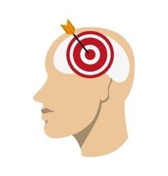 Head with bullseye icon vector