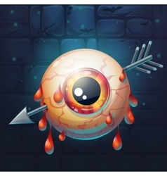 Horrible bloody arrow pierced eyeball vector