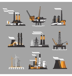 Industrial factory icons on gray background vector