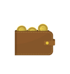 leather wallet with euro coins vector image vector image