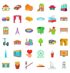 Life in town icons set cartoon style vector