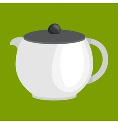 modern white tee kettle isolated kitchenware vector image