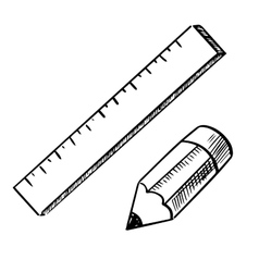 Pencil and ruler sketch icons vector