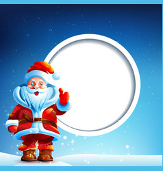Santa Claus in the snow with a thumbs up vector image