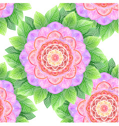 Seamless watercolor flower abstract mandala vector