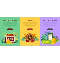 Set of gambling banners in flat design vector