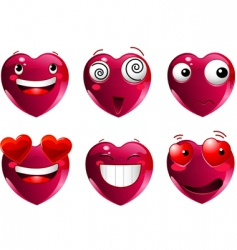 set of heart shape emoticons vector image vector image
