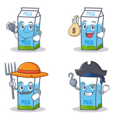 Set of milk box character with doctor money bag vector