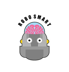 Smart robot Emblem of Biomechanics of human brain vector image