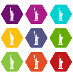 statue of liberty icon set color hexahedron vector image