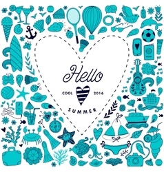 Summer beach hand drawn travel vacation vector