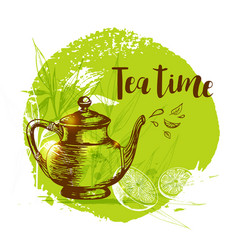 teapot and lemon on a green background vector image vector image