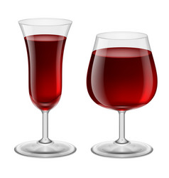 Two glasses of red wine for design vector
