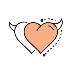 Two line icon style heart devil design vector
