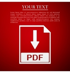 Pdf file document flat icon on red background vector