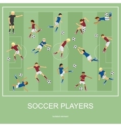Set of soccer players vector