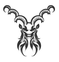 Capricorn head engraving vector