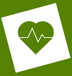 Heartbeat sign   white icon vector