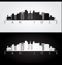 San jose usa skyline and landmarks silhouette vector