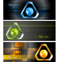 Abstract hi-tech banners vector