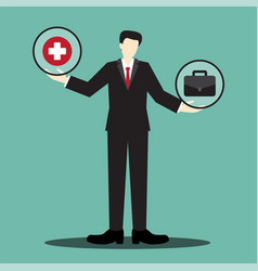 Health or work businessman scale vector