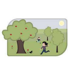 Cartoon children playing in park vector