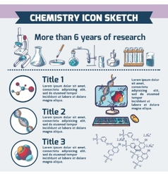Chemistry research infographic sketch vector