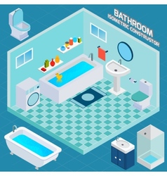 Isometric bathroom interior vector