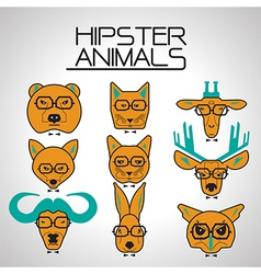Hipster animal icons set vector
