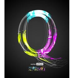 Design Light Effect Alphabet Letter Q vector image