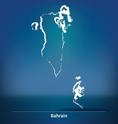 Doodle map of bahrain vector
