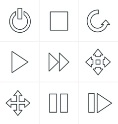 Line icons style media icons set design vector