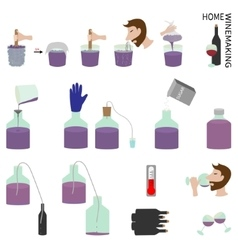 Home winemaking set of elements vector