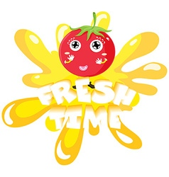 Fresh tomato on yellow splash vector