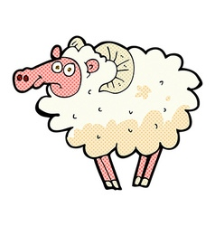 Comic cartoon dirty sheep vector