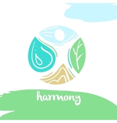 Logo harmony four nature element high mountain vector