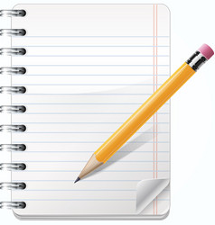 Realistic Notepad With Pencil vector image