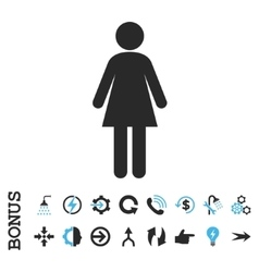 Woman flat icon with bonus vector