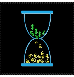 Blue hourglass with dollar and euro money signs vector