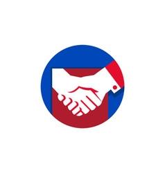 Business deal handshake circle retro vector