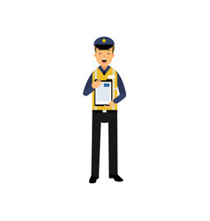 cartoon character of city road police officer in vector image vector image