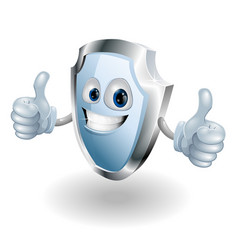 cartoon happy shield man vector image vector image