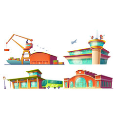 Cartoon icons of bus station airport sea port vector
